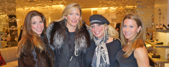 leah chavie and friends at custom manolo blahniks for charity